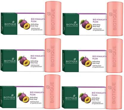 Biotique Advanced Ayurveda | BIOTIQUE Pack of 6 Bio Himalayan Plum Refreshing Body Soap, (150g*6)
