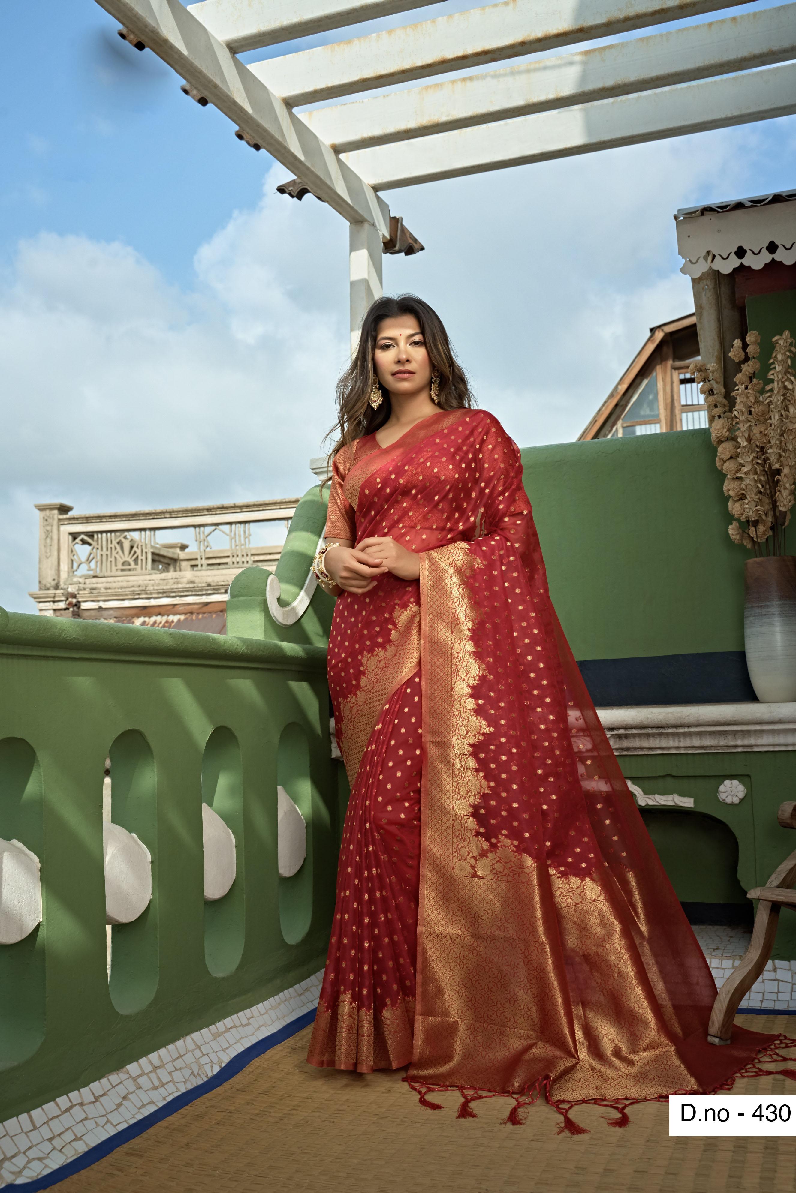 POONAM TEXTILE | Banaras Special Maroon Hand Dyed Organza Silk Saree