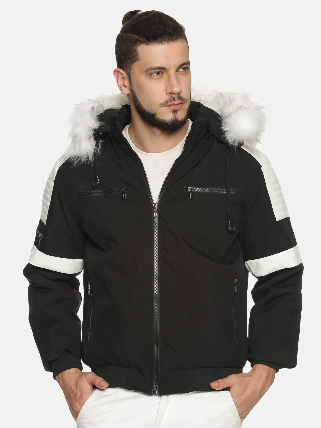 Showoff | Men Black& White Solid Bomber Jackets with Detachable Hood