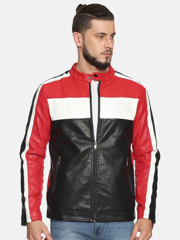 Showoff   Men Black&Red Casual Solid Leather jacket