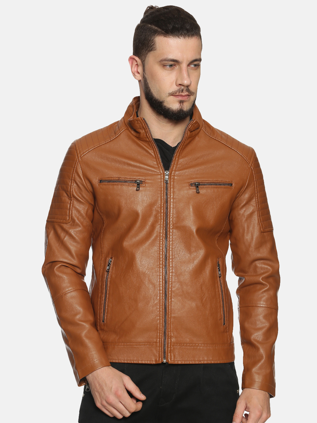 Showoff   Men Brown Solid Leather jacket with Detachable Hood