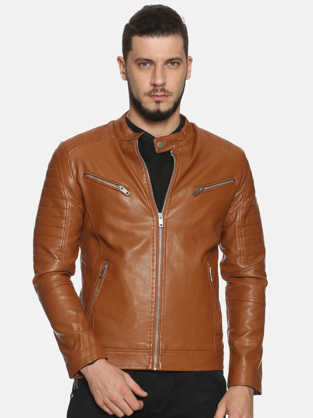 Showoff | Men Brown Casual Solid Leather jacket