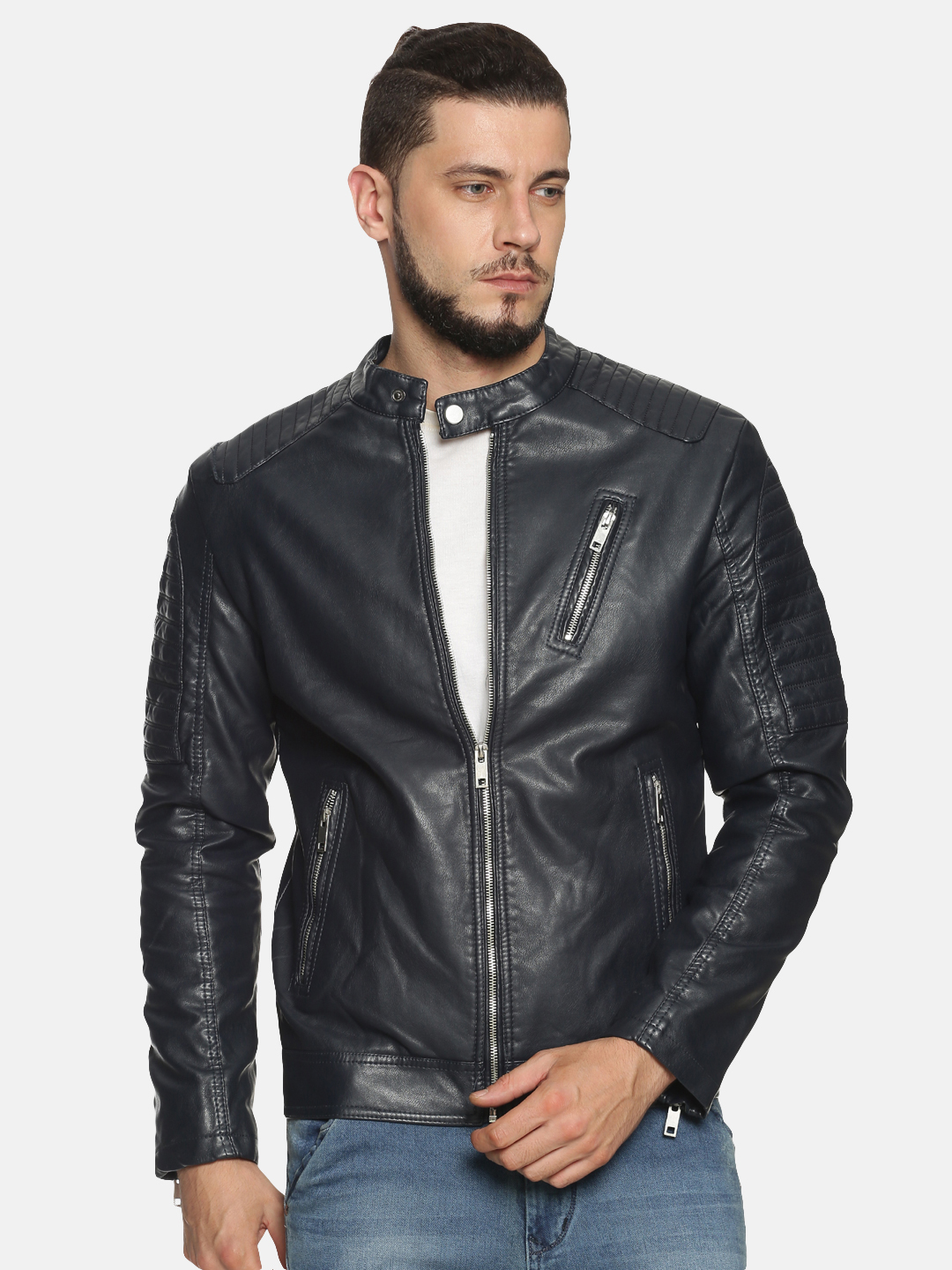 Showoff   Men Navy Casual Solid Leather jacket