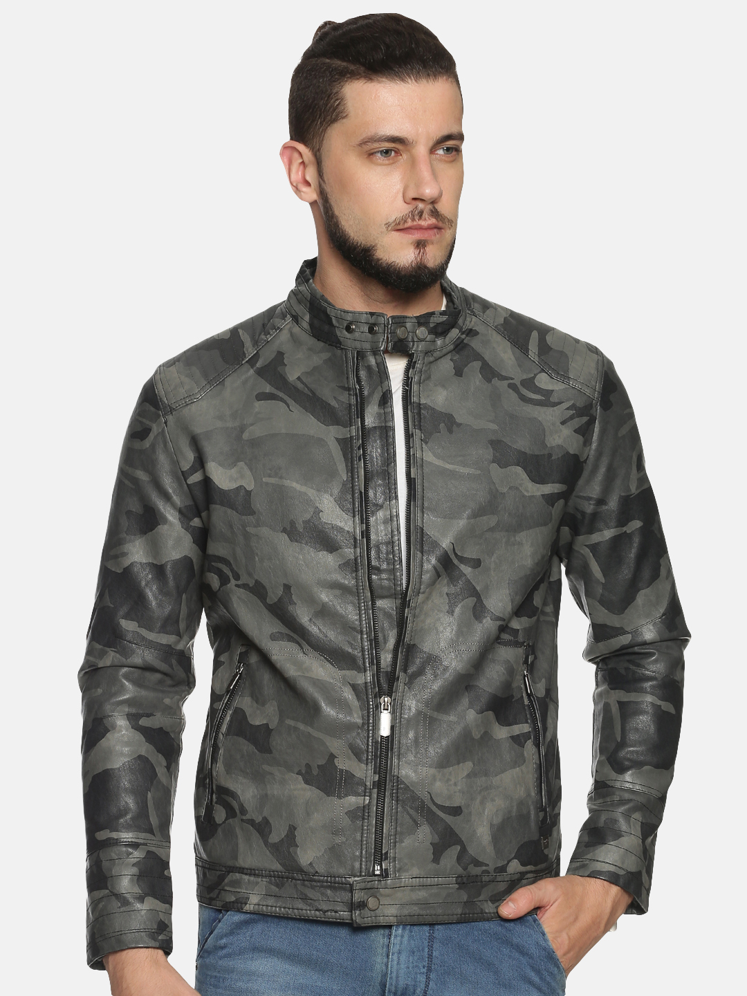 Showoff | Men Grey Casual Solid Leather jacket