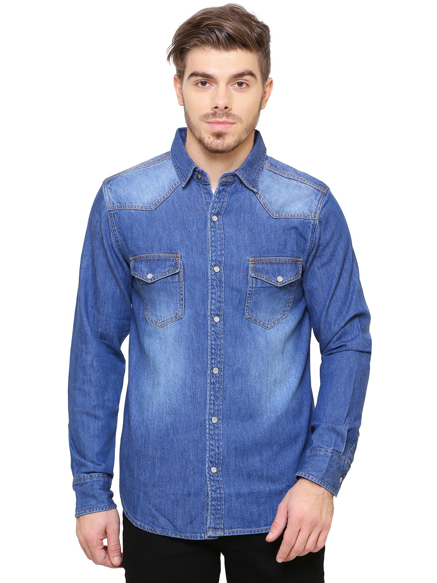 Southbay   Southbay Men's Medium Blue Casual Denim Shirt- SBCLFS734MBU