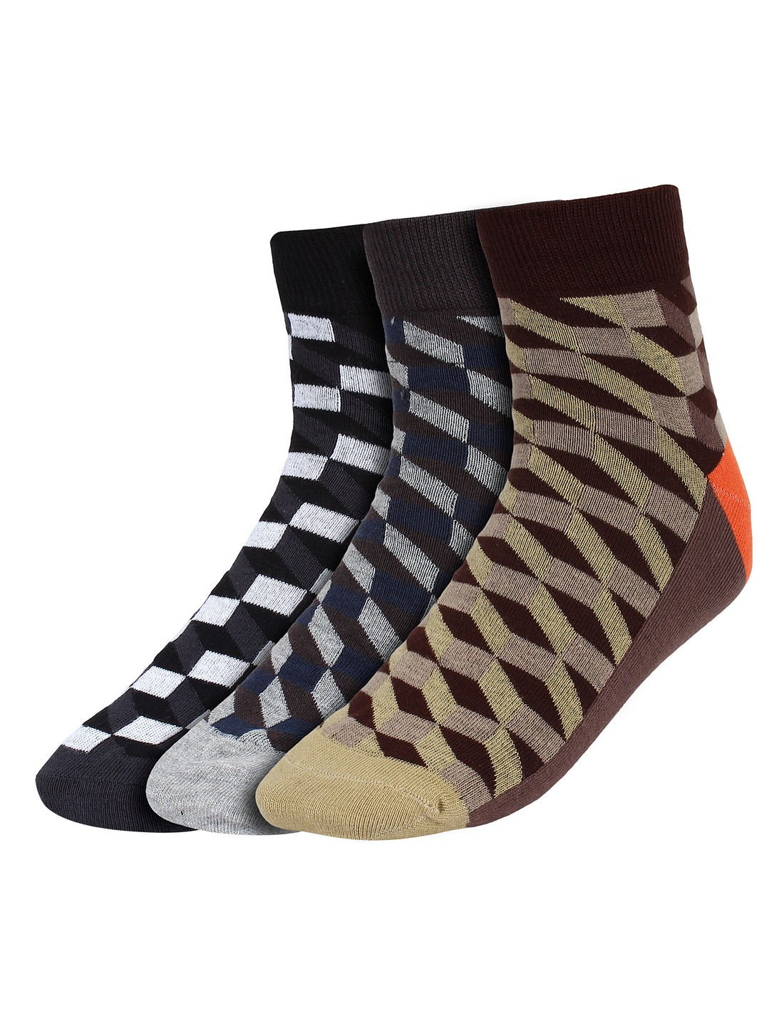 CREATURE | CREATURE Check Print Men's Ankle Length Socks Pack of 3