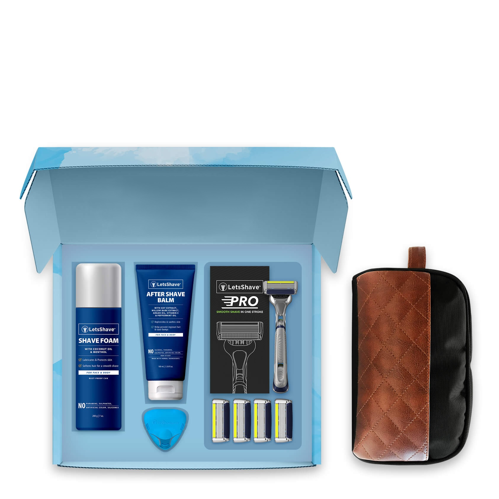 LetsShave | LetsShave Pro 6 Plus Premium Gift Set - Pack of 4 Pro 6 Plus Blades + Razor Handle + Shave Foam - 200g + After Shave Balm + Travel Bag + Travel Cap