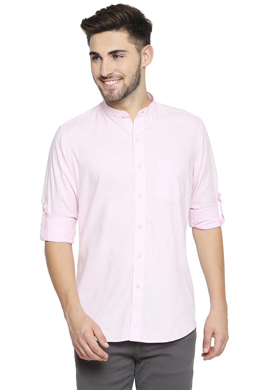 EVOQ | EVOQ Full Sleeves Linen Pink Solid Casual Shirt for Men