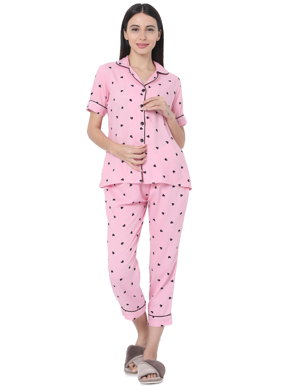 Smarty Pants | Smarty Pants women's cotton pink color heart print night suit