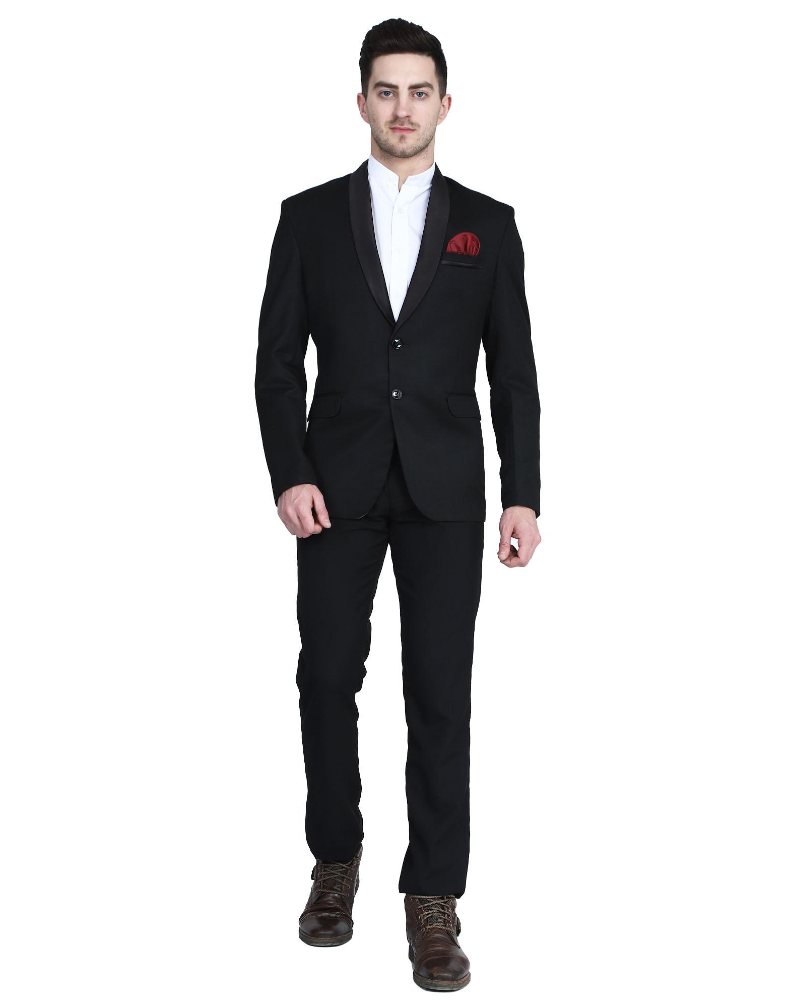 TAHVO | Black Tuxedo Men Suit With Hanky