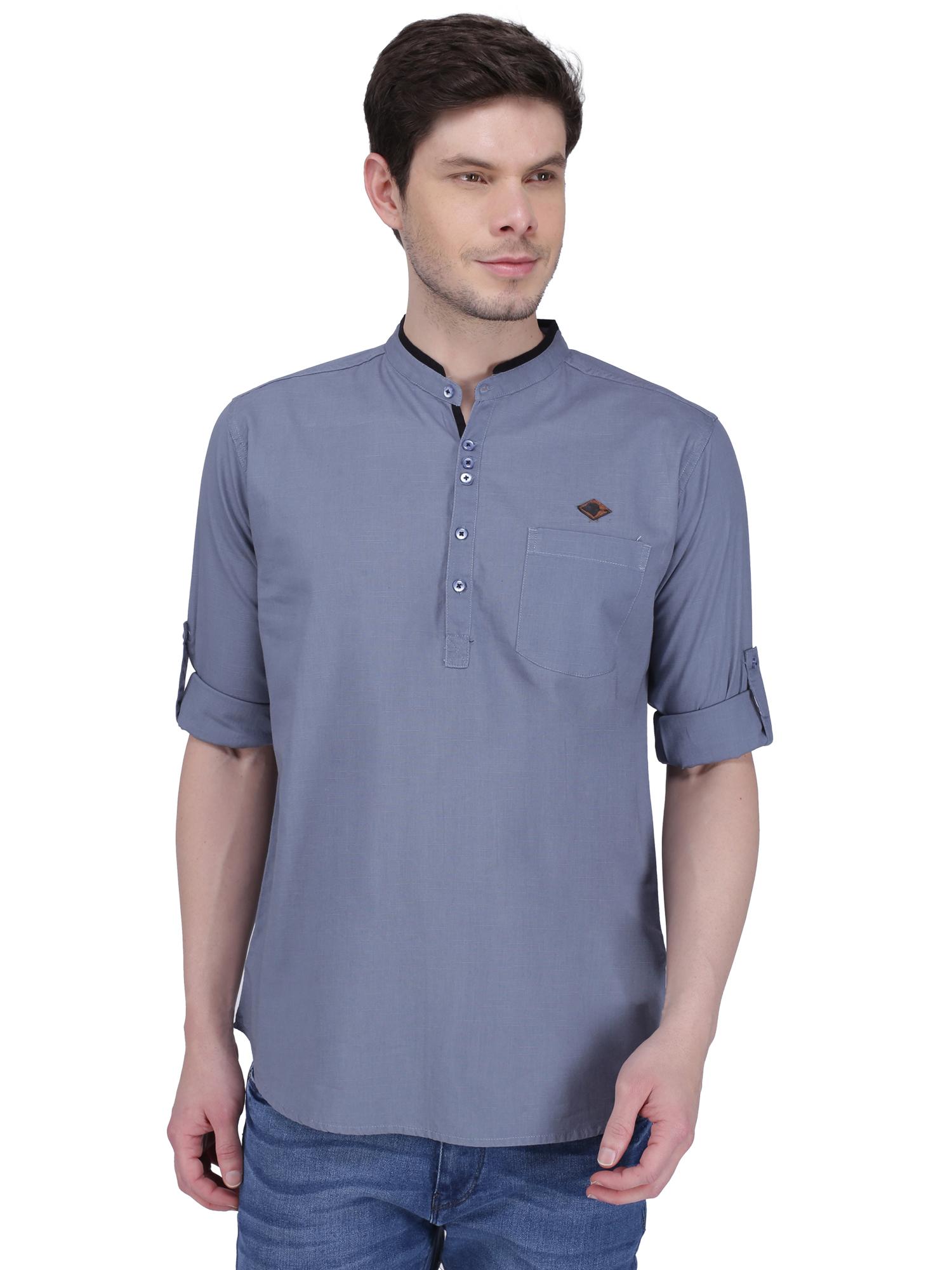Kuons Avenue | Kuons Avenue Men's Iron Grey Linen Cotton Short Kurta- KACLFS1314GY