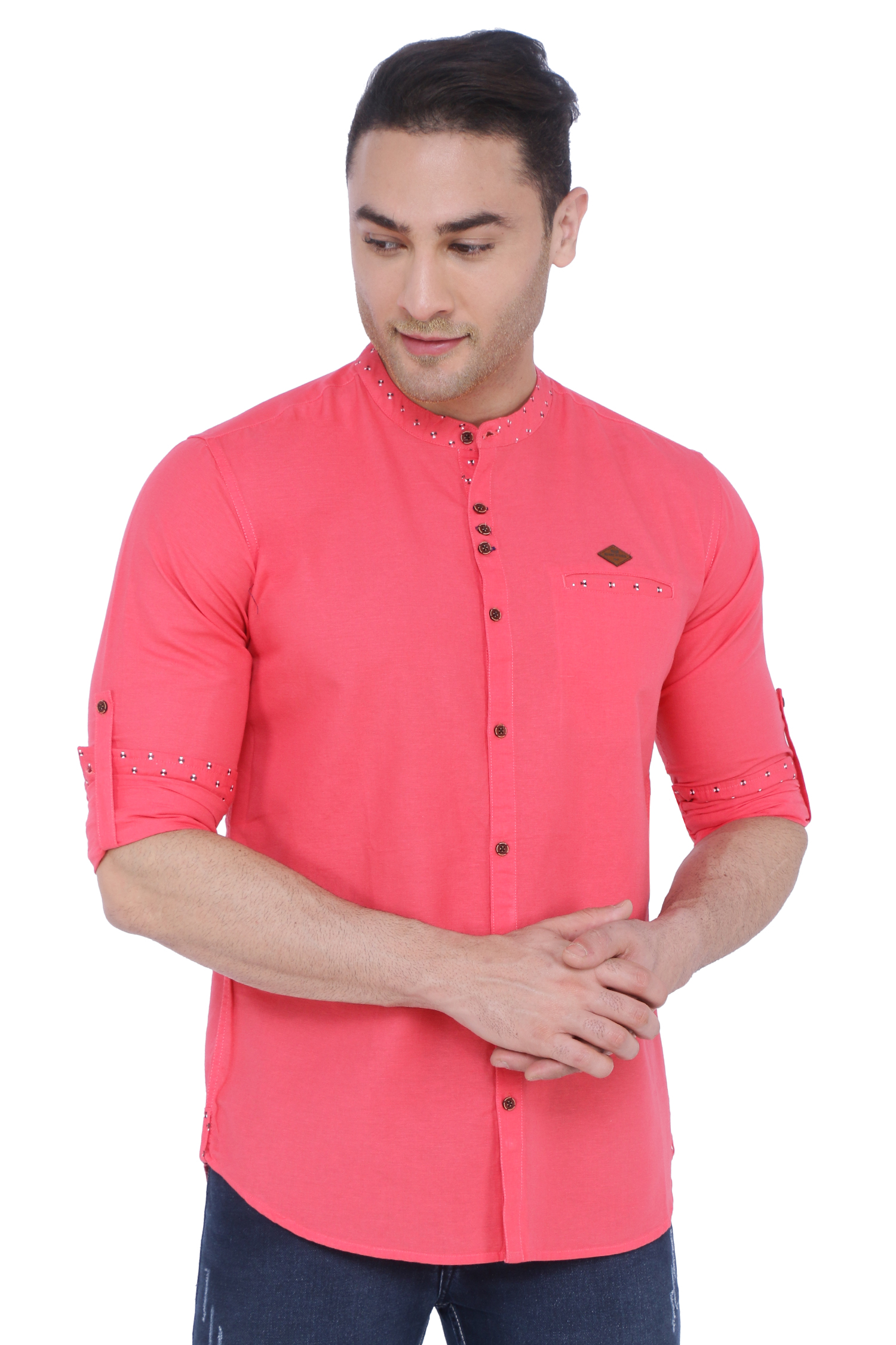 Kuons Avenue   Kuons Avenue Men's Salmon Pink Linen Cotton Shirt- KACLFS1344PK