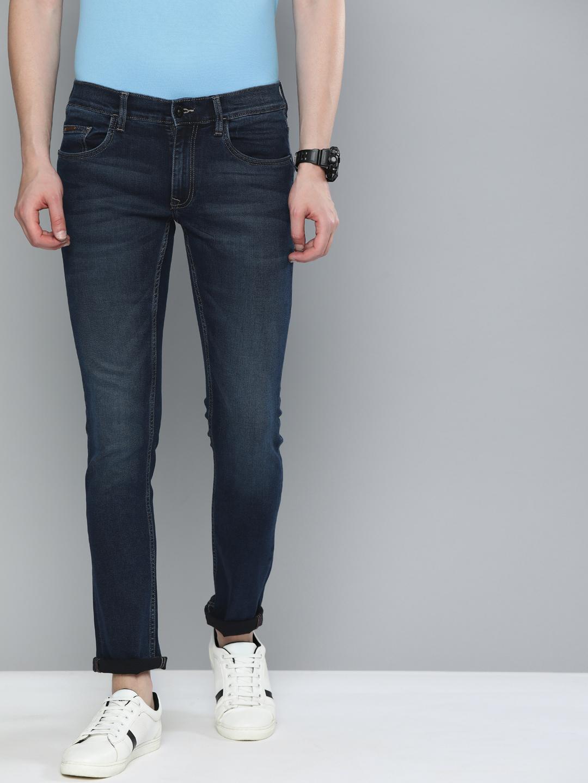 American Bull   American Bull Men Cotton Casual Skinny Fit Dark Blue Jeans