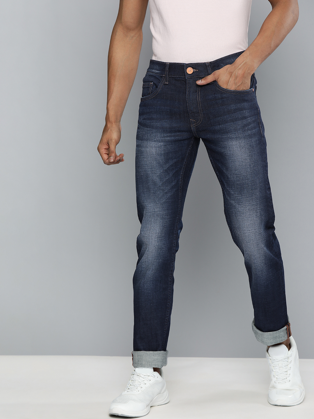 American Bull | American Bull Men Cotton Casual Slim Fit Dark Blue Jeans
