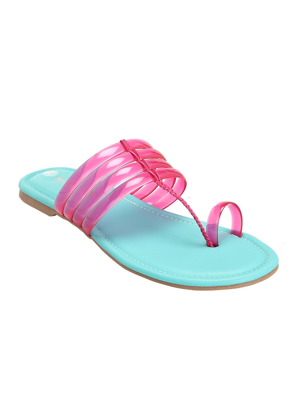 Trends & Trades   Women Pink and Blue Kolhapuri Flats