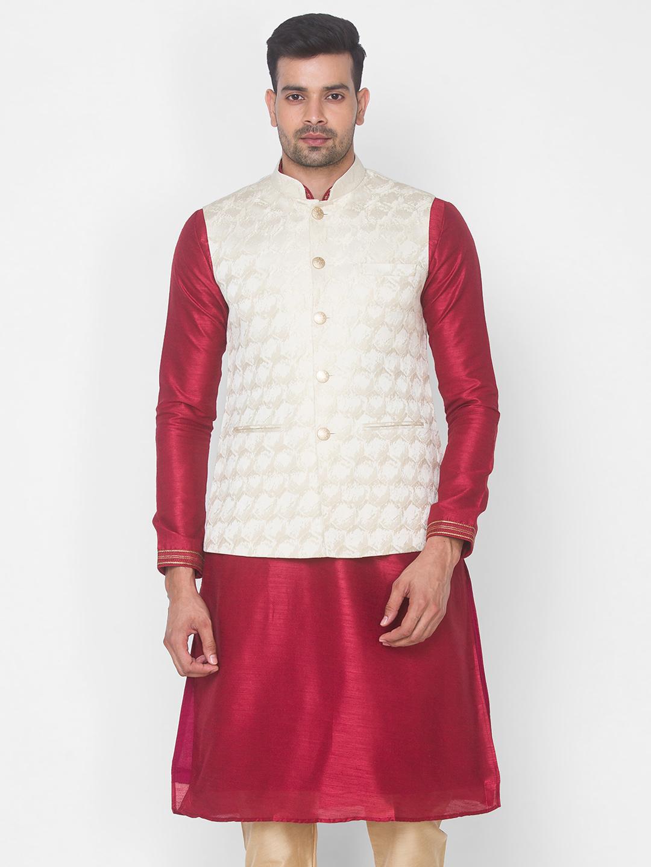 Ethnicity | Cream brocade sleeveless jacket