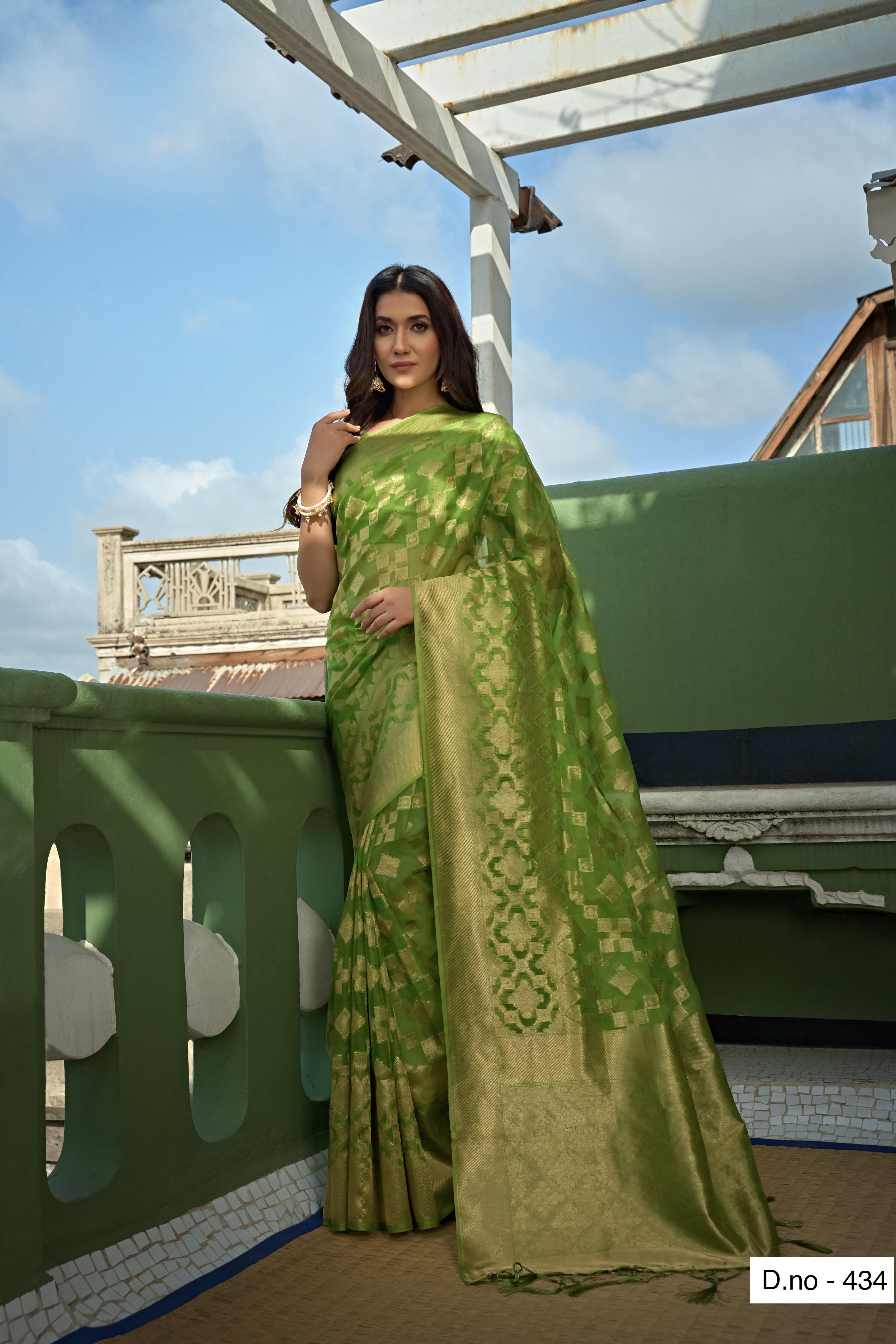 POONAM TEXTILE | Fashion Banaras Light Green Organza Silk Hand Dyed Zari Festive Saree