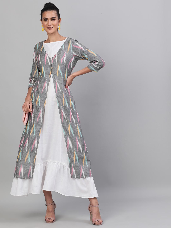 ANTARAN | Grey & White Ikat Handloom Woven Design Layered Maxi
