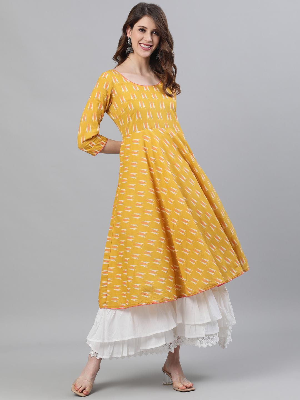 ANTARAN | Yellow & White Ikat Printed Layered Maxi With Lace details