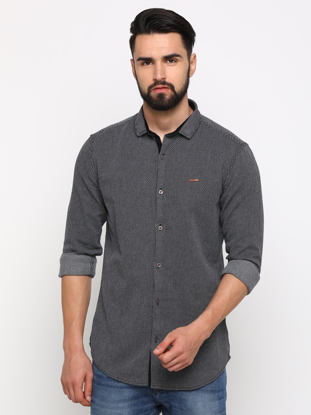 With   WITH Men's Black Cotton Printed SlimFit Shirt