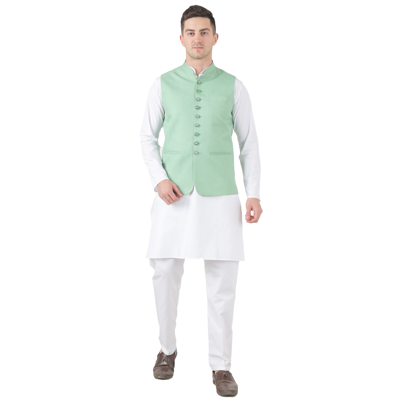 TAHVO   Tahvo Men 9 Button Nehru Jacket Kurta Set