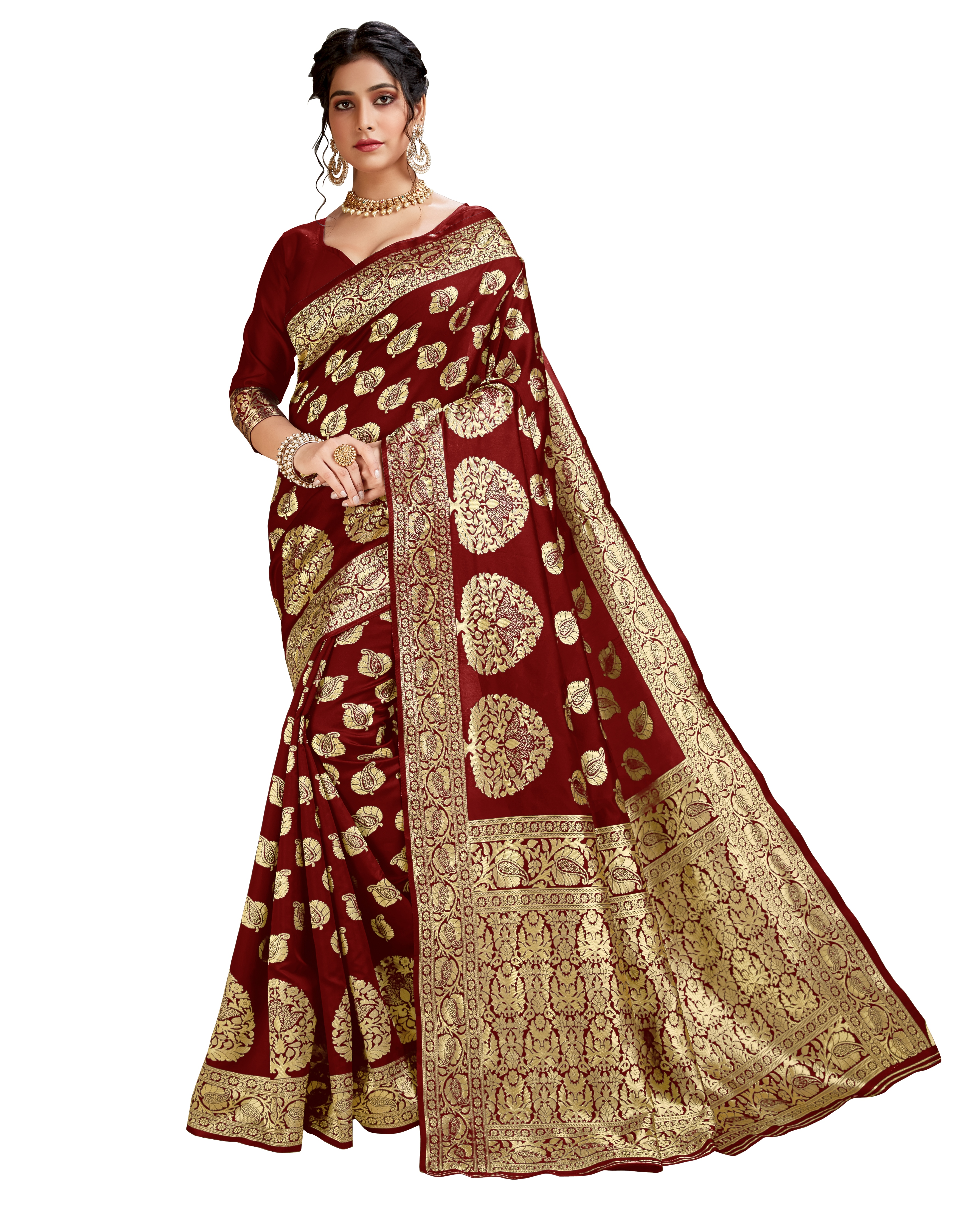 Glemora Maroon Lichi Cotton Akriti Saree With Unstitched Blouse
