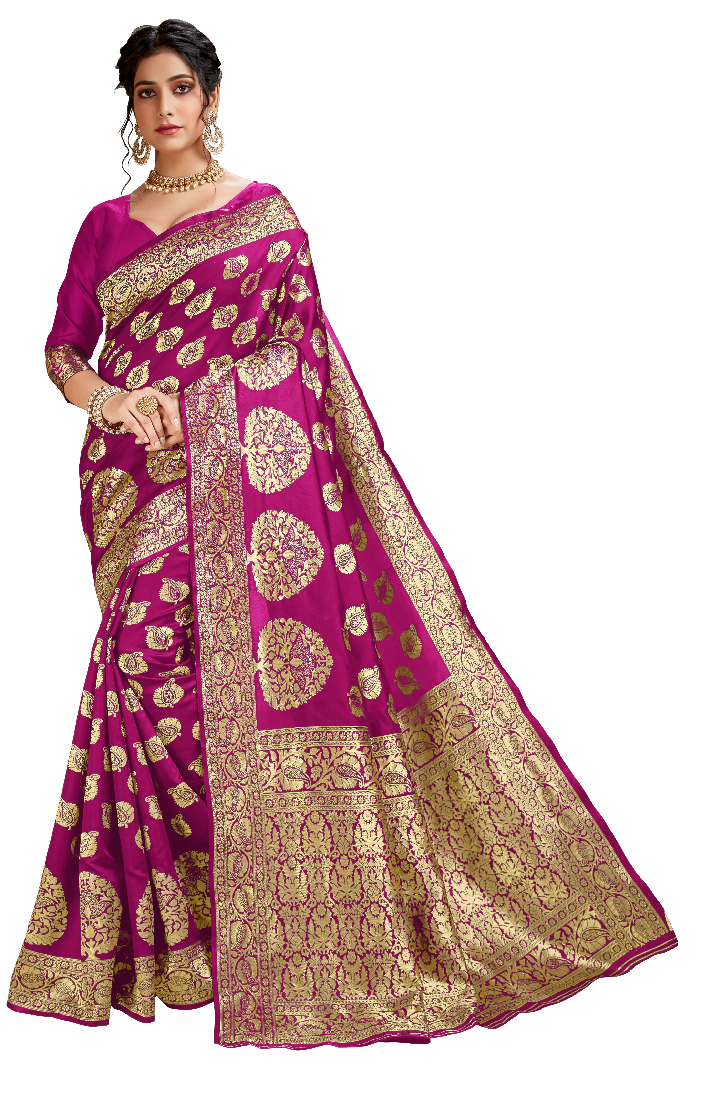 Glemora Pink Lichi Cotton Akriti Saree With Unstitched Blouse