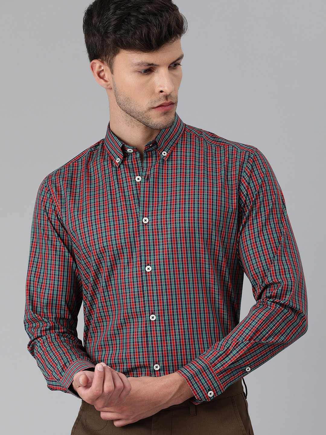 The Bear House   Men Red & Blue Slim Fit Checked Giza Cotton Formal Shirt