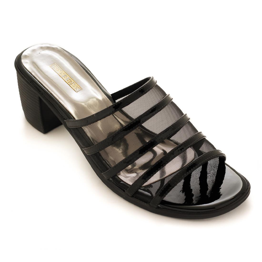 Trends & Trades   Womens Black Transparent Block Heels