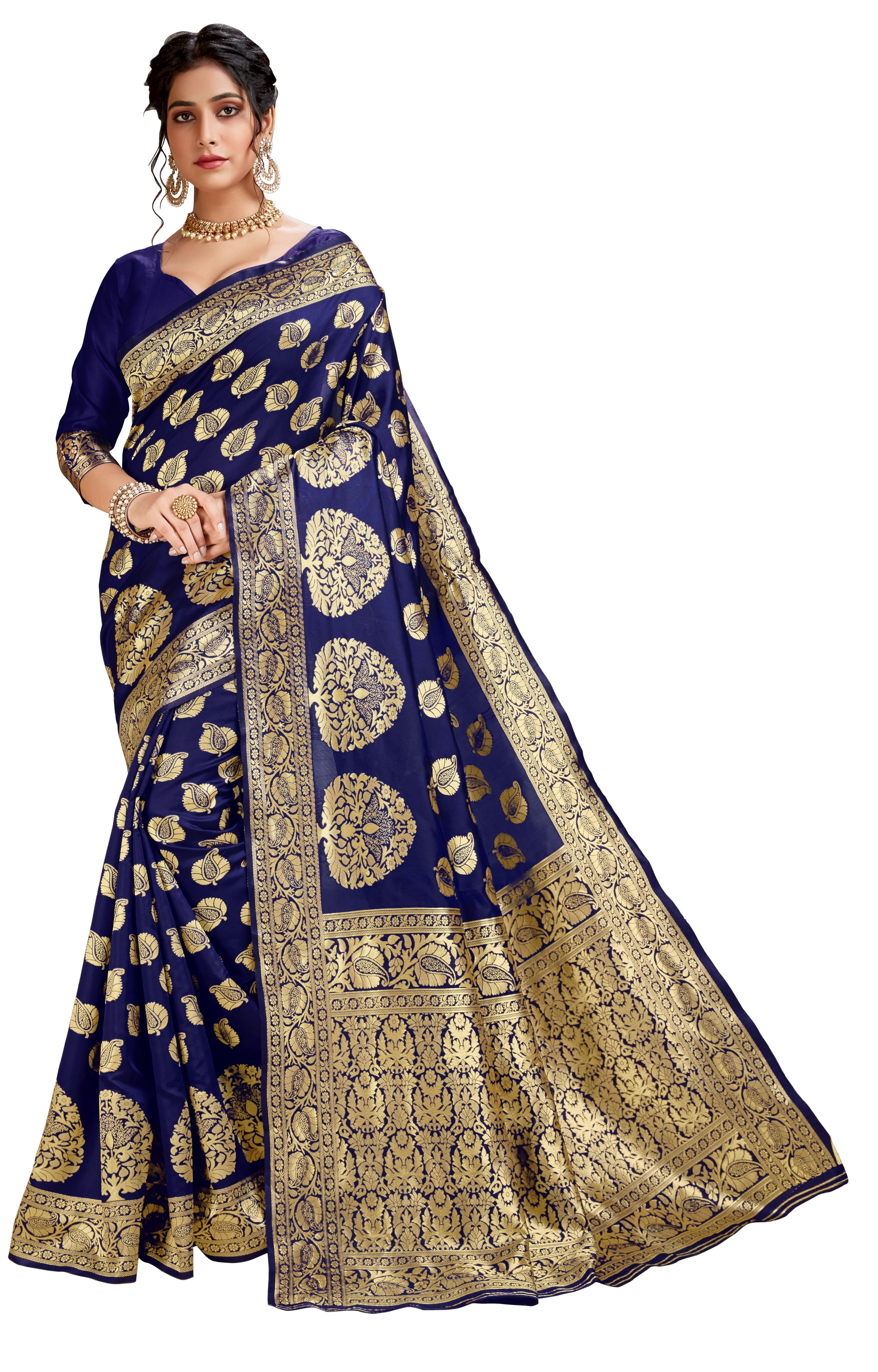 Glemora Blue Lichi Cotton Akriti Saree With Unstitched Blouse