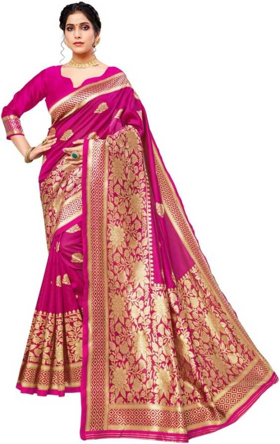 Glemora | Glemora Pink Lichi Cotton Aneri Saree With Unstitched Blouse