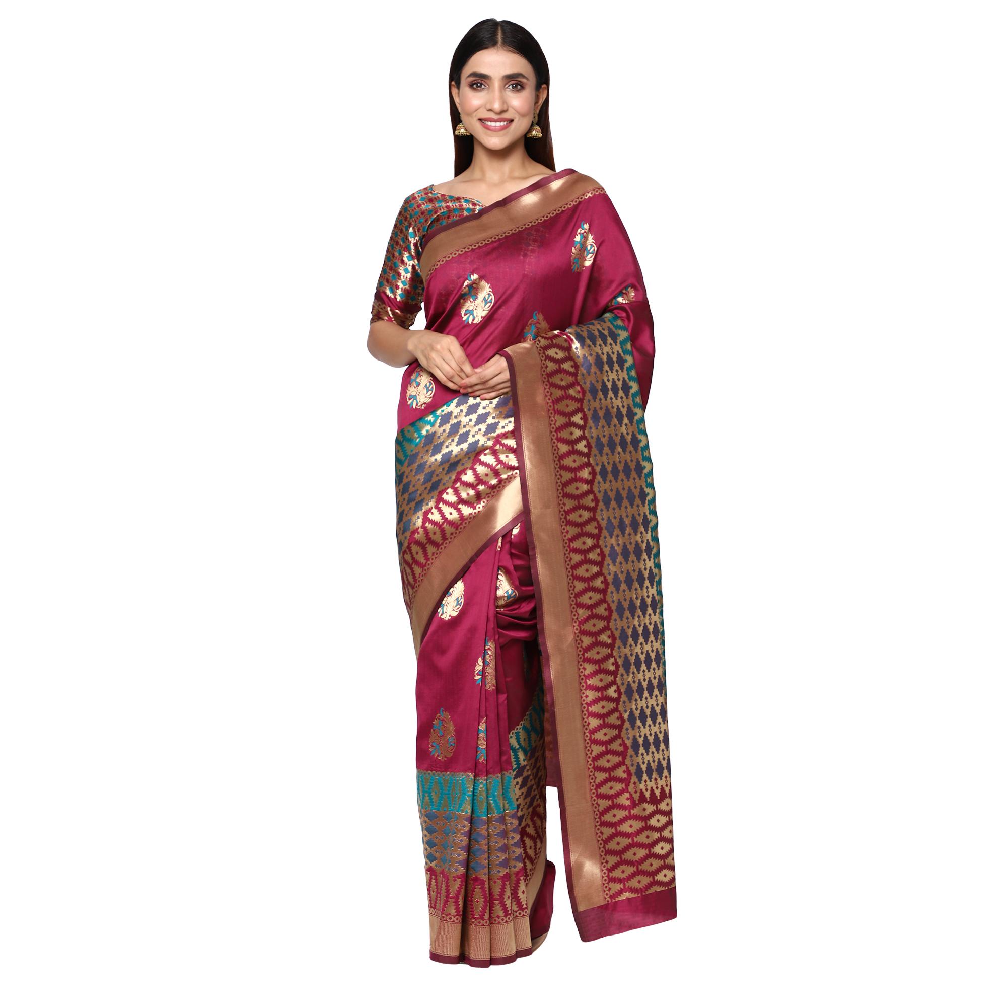 Glemora   Glemora Wine Designer Ethnic Wear Silk Blend Banarasi Traditional Saree