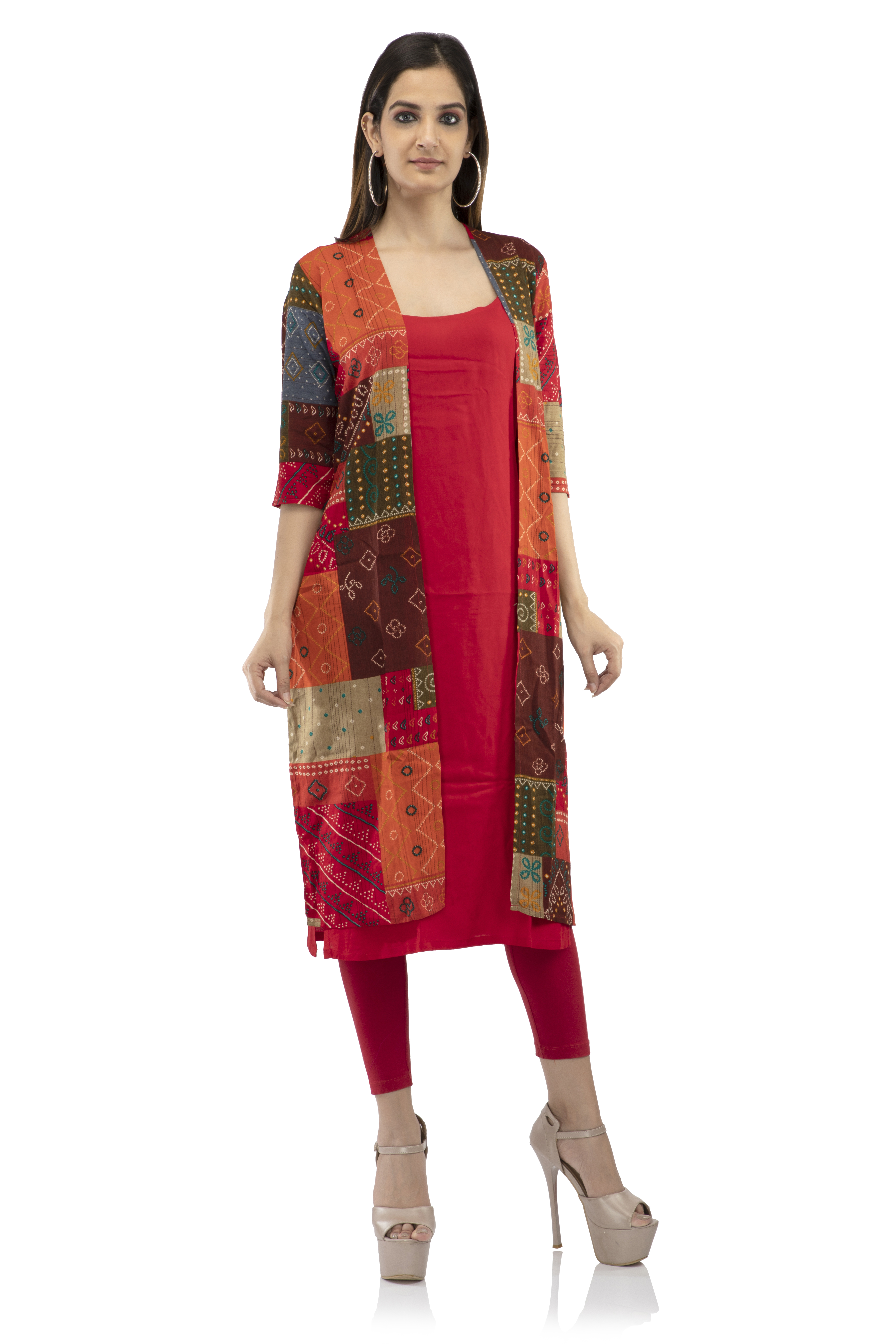 becoming | All over printed Mutli patch two piece kurti
