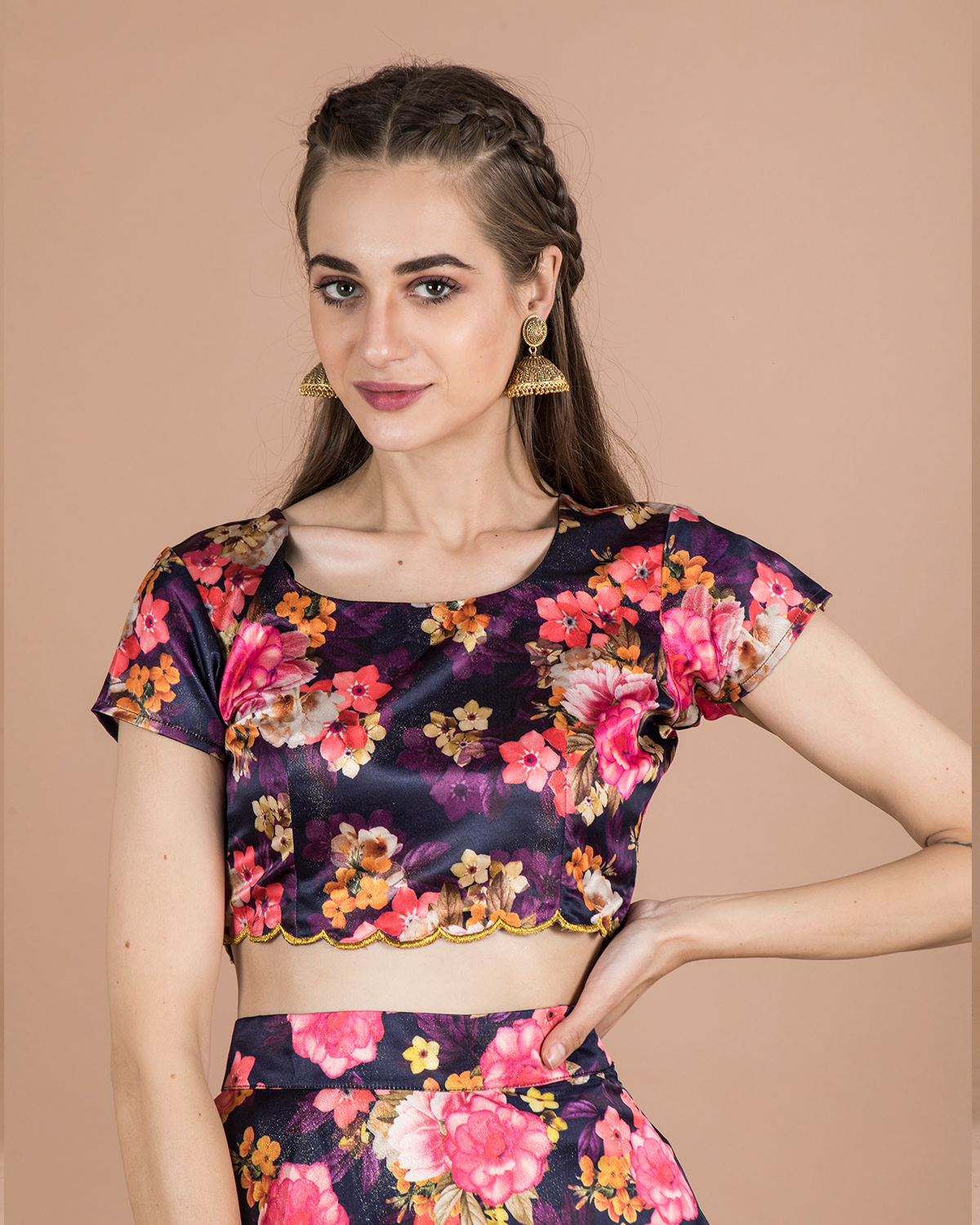 becoming | BECOMING WOMENS FLORAL WORK SCALLOP CROPTOP