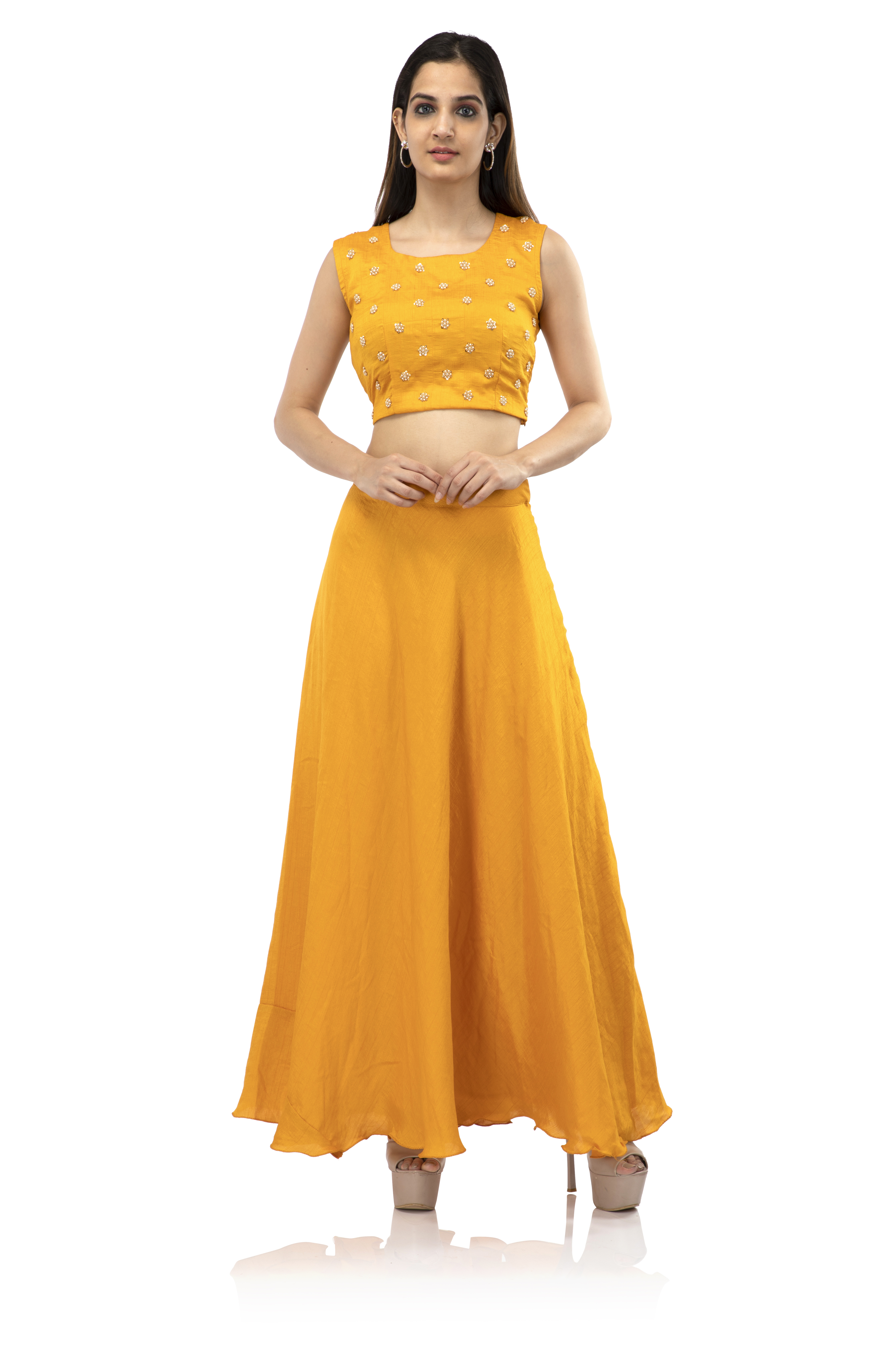 becoming | Women's Chanderi Solid Ethnic Wear Flared Skirt