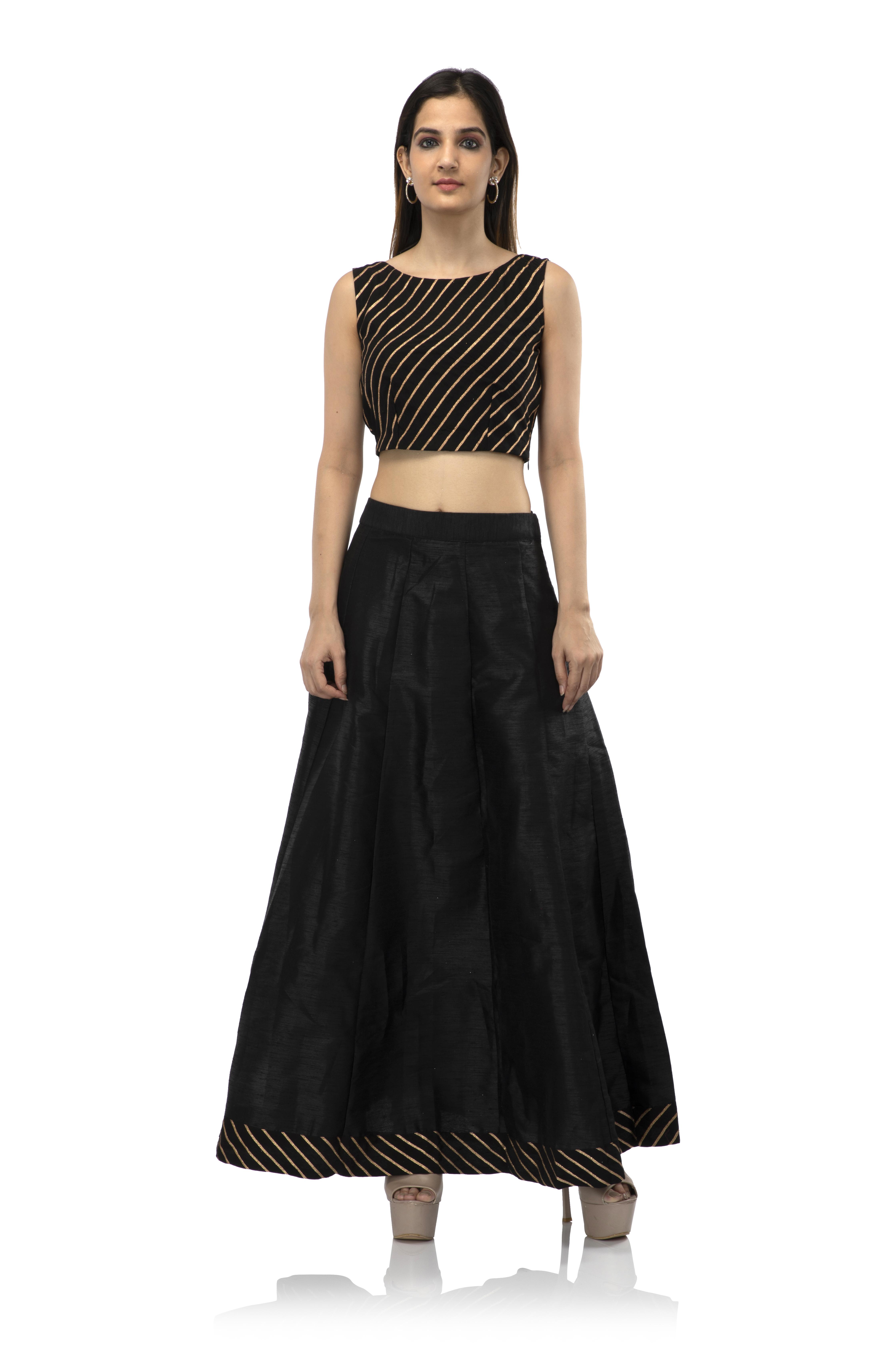 becoming | Women's Silk Solid Ethnic Wear Raw Silk Black Skirt