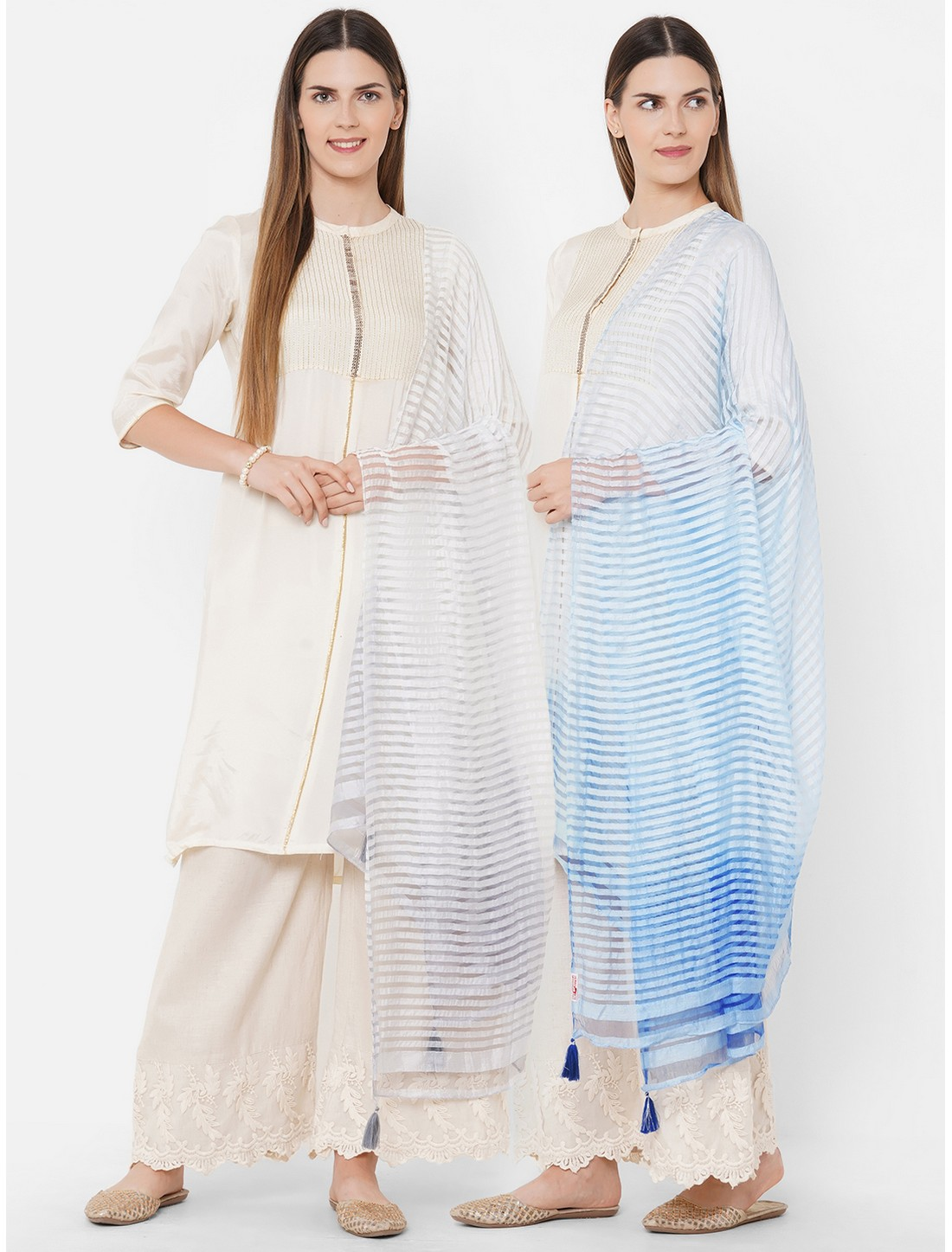 Get Wrapped | Get Wrapped Textured Shaded Multicolor Dupatta with Tassels - Combo Pack of 2
