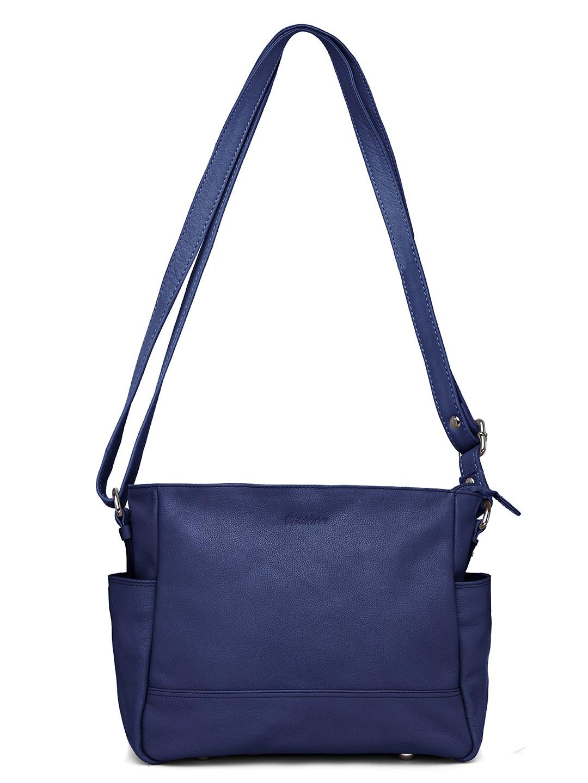 WildHorn   WildHorn Upper Grain Genuine Leather Ladies Tote, Sling, Shoulder, Hand Bag with Adjustable Strap - Blue