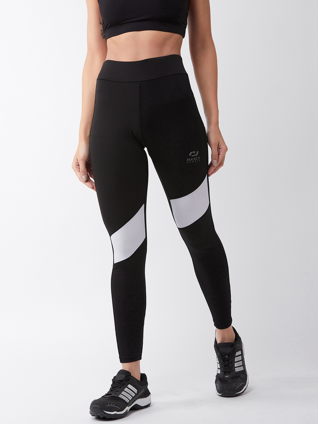Masch Sports | Masch Sports Women's Black Solid Sports Tights with Diagonal White Panel