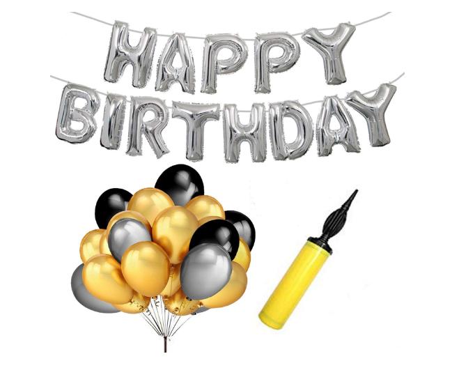 Blooms Mall | Blooms Mall Surprise Birthday Combo 62 Happy Birthday Foil Balloon +Mettallic Balloon +Balloon Pump
