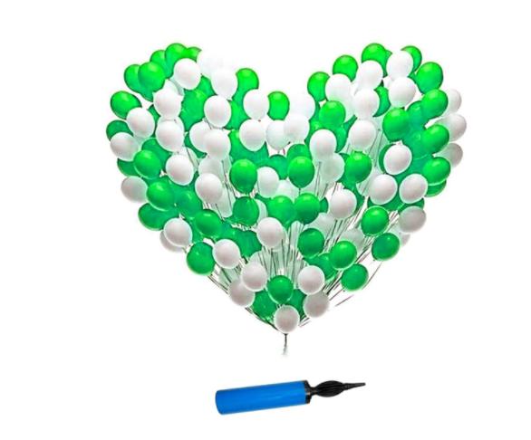 Blooms Mall | Latex Metallic Ballon ( Green + white) with Balloon Pump