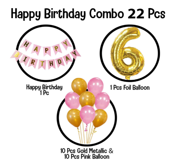 Blooms Mall | Blooms Mall Memorable   6th  HBD   pink  and Golden combo set