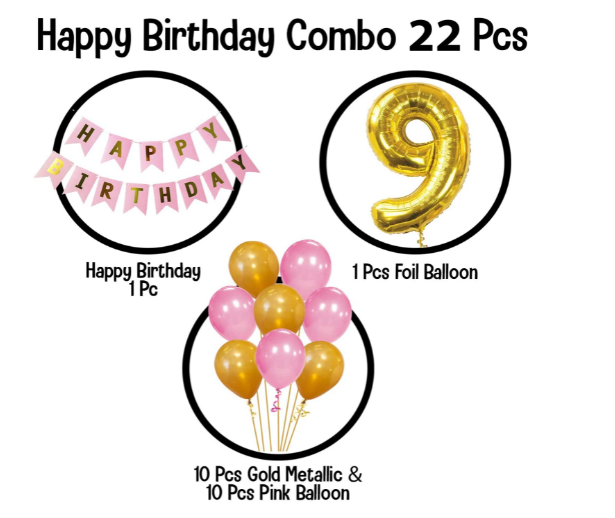 Blooms Mall | Blooms Mall Memorable   9th  HBD   pink  and Golden combo set