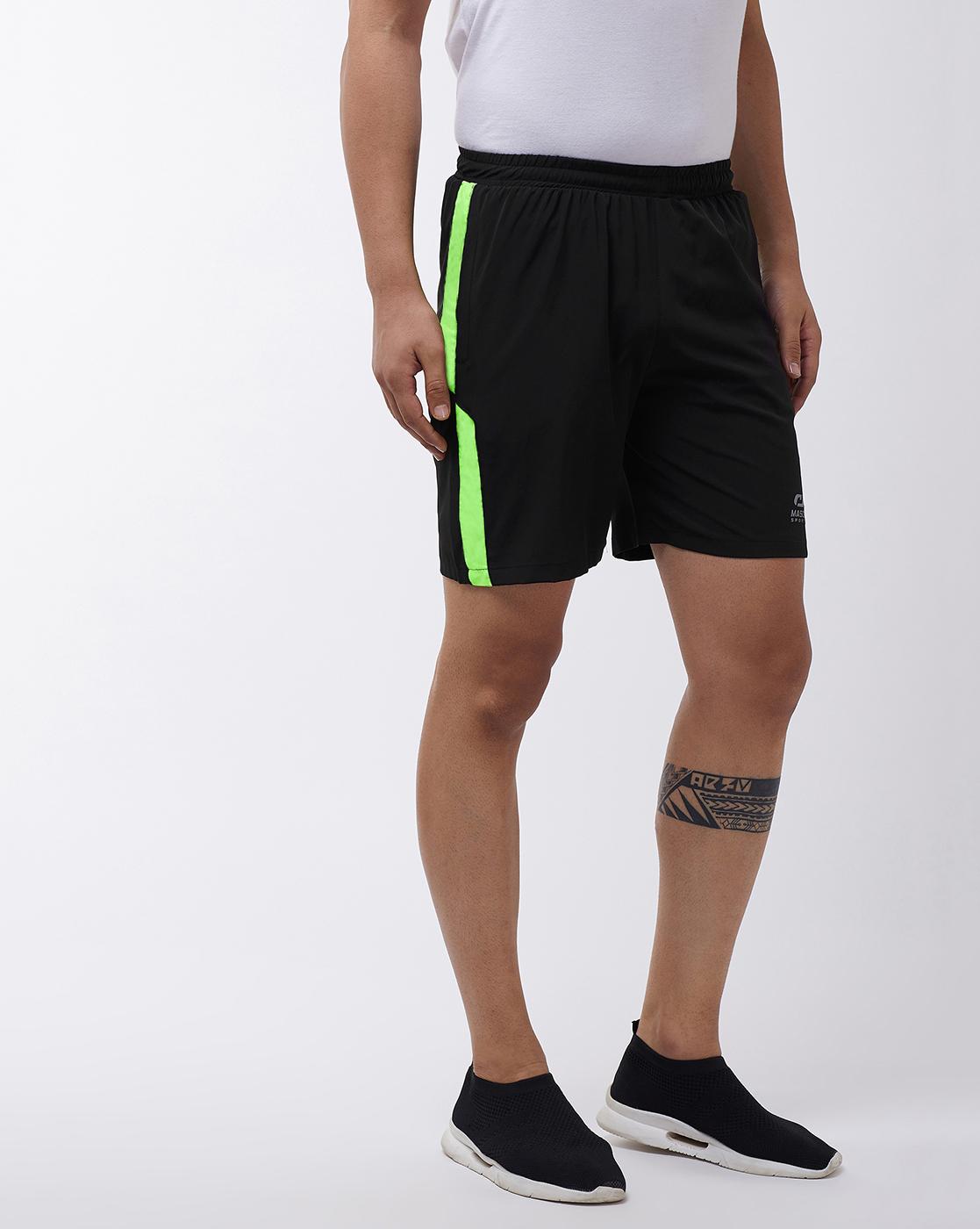 Masch Sports | Masch Sports Men's Black & Fluorescent Neon Gym & Activewear Shorts