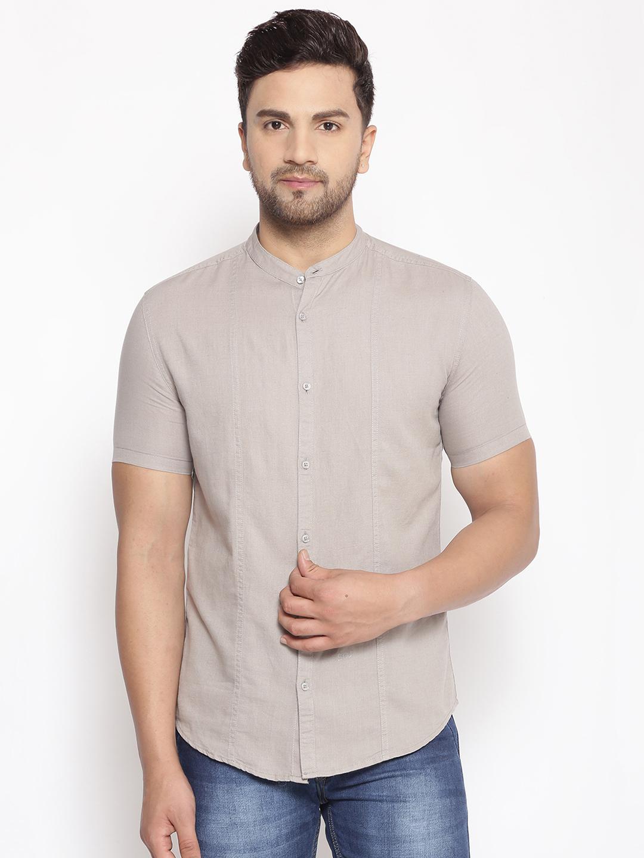 Showoff | SHOWOFF Men's  Lenin Casual Grey Solid Slim Fit Shirt