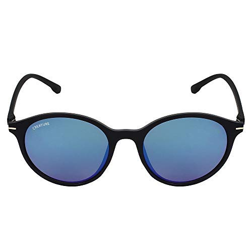 CREATURE   CREATURE Matt Finish Club Master Round UV Protected Unisex Sunglasses (Lens-Blue Frame-Black)