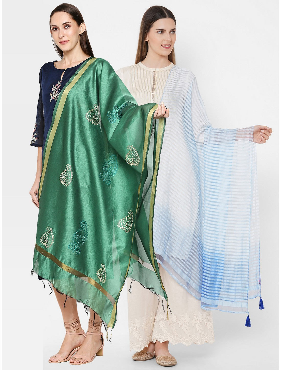 Get Wrapped | Get Wrapped Gold Border Dupatta & a Textured Shaded Dupatta for Women - Combo Pack of 2