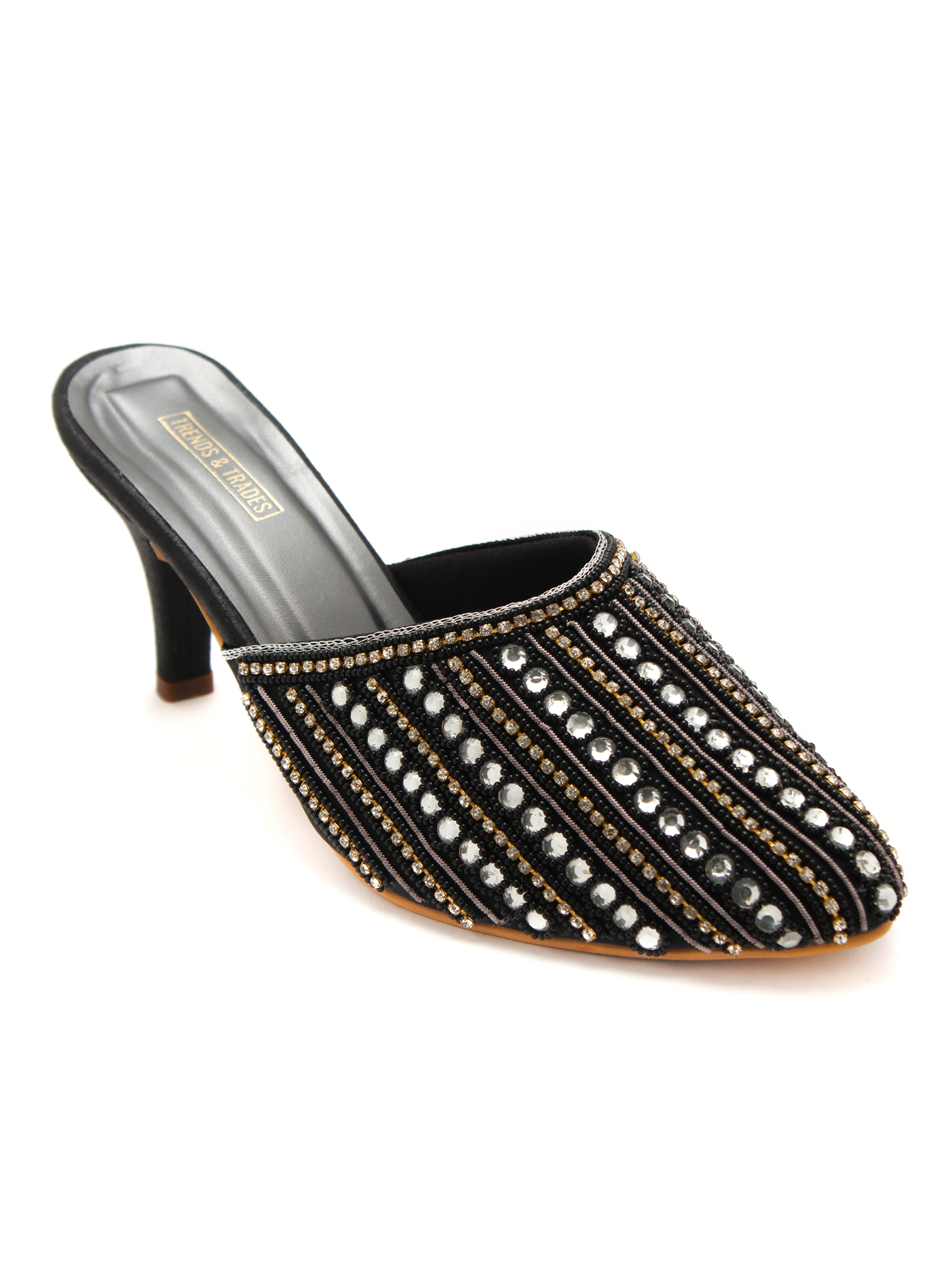 Trends & Trades | Women Black Handcrafted Embellished Heeled Mules