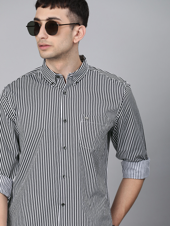 The Bear House | Men's Black Striped Casual Shirt