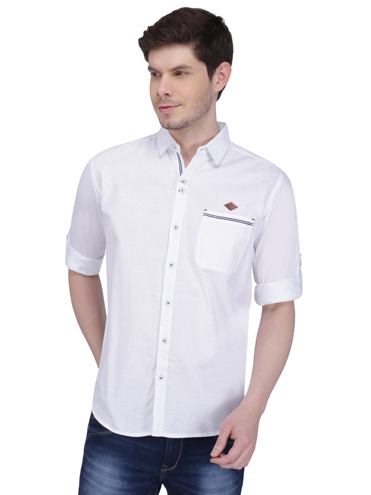 Kuons Avenue | Kuons Avenue Men's White Linen Cotton Shirt- KACLFS1309WH